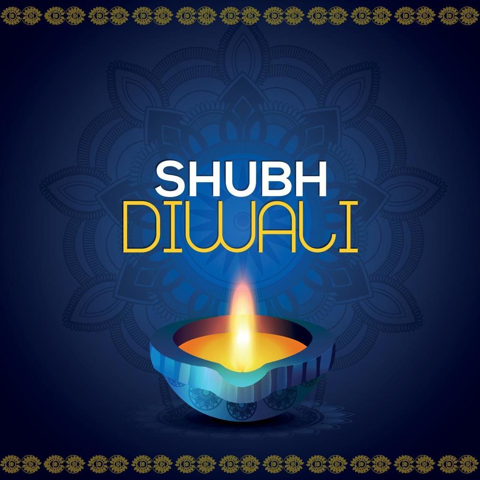 felice diwali invito celebrazione illustrazione vettoriale di diwali diya