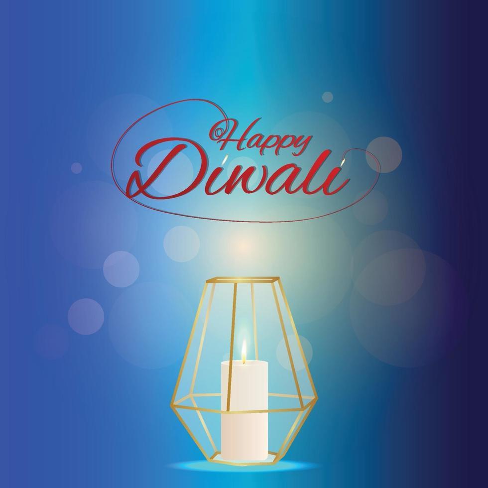 biglietto di auguri di celebrazione del festival indiano diwali con lampada creativa vettore