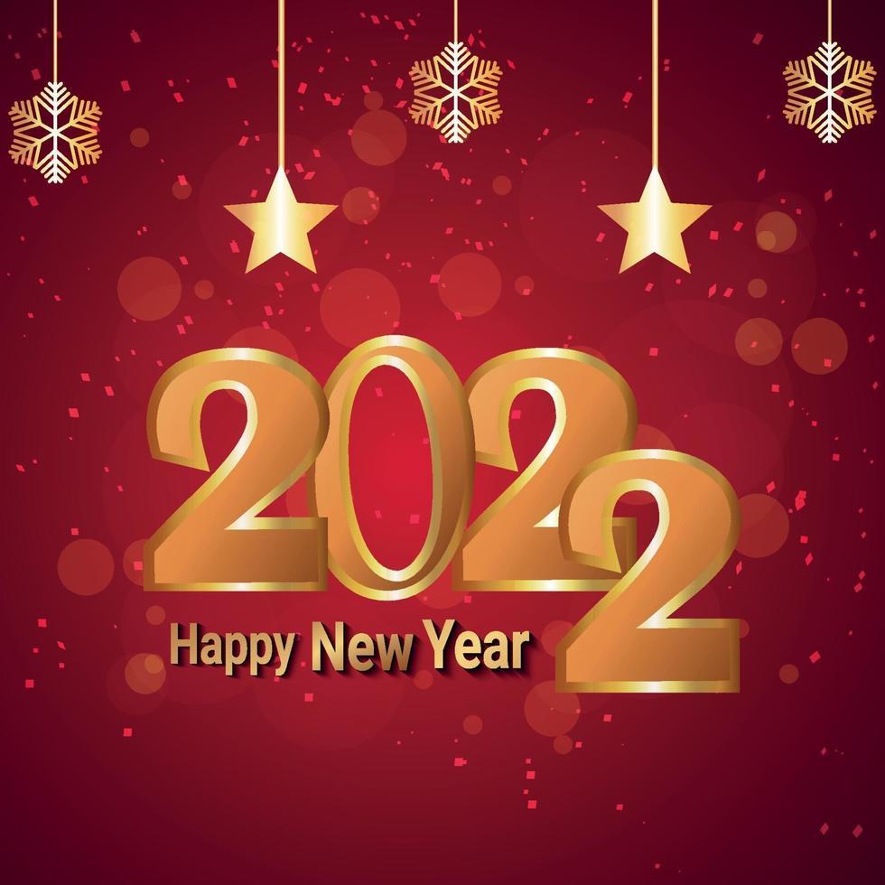 Cartolina d'auguri di celebrazione di felice anno nuovo 2022 con illustrazione vettoriale