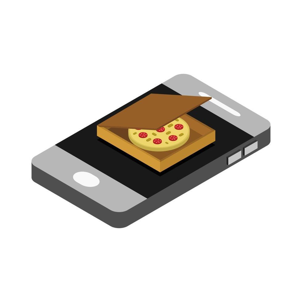 compra la pizza isometrica online vettore