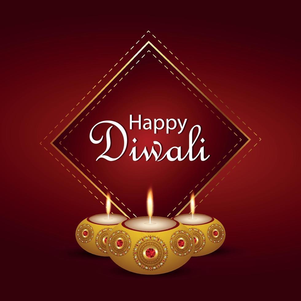 felice diwali invito biglietto di auguri diwali festival della luce con creativo diwali diya vettore