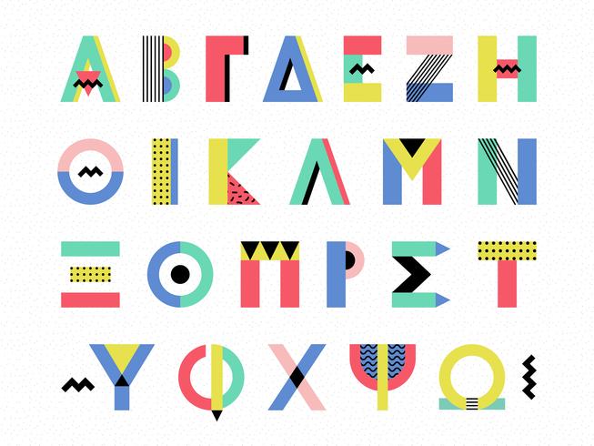 Insieme di vettore di alfabeto greco di stile di Memphis
