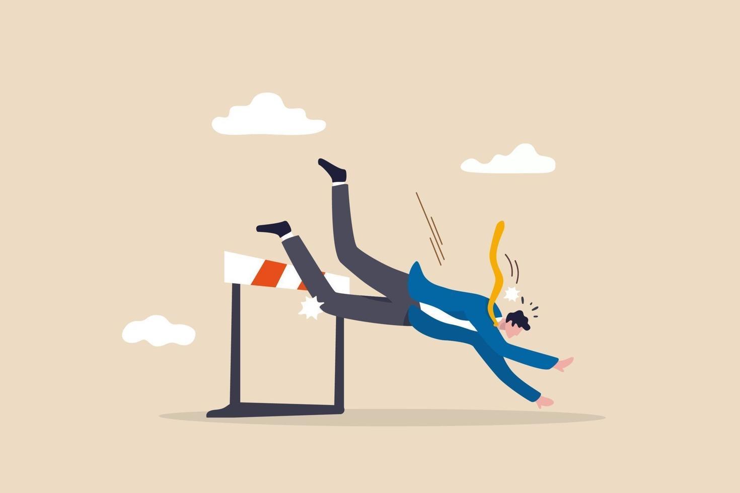 uomo d'affari frustrato perdente non riesce a saltare oltre l'ostacolo e cadere a terra vettore