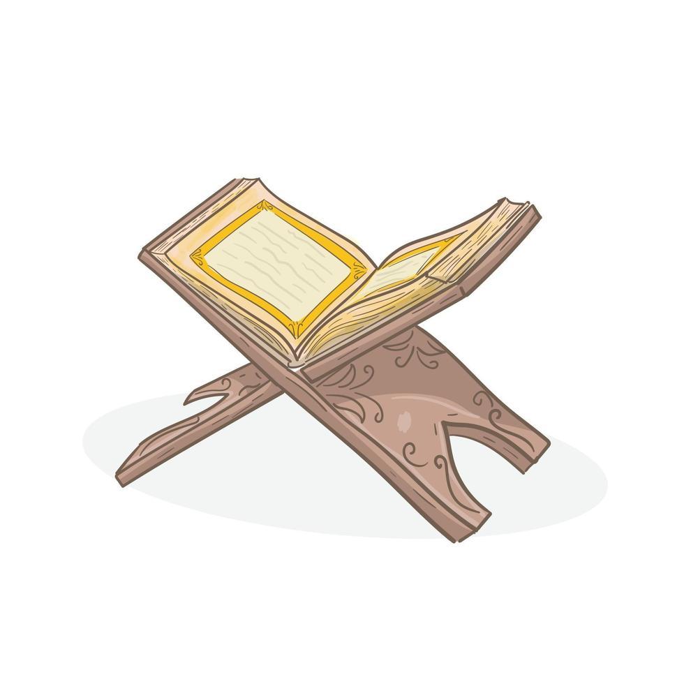 il libro sacro del corano sul piedistallo vettore