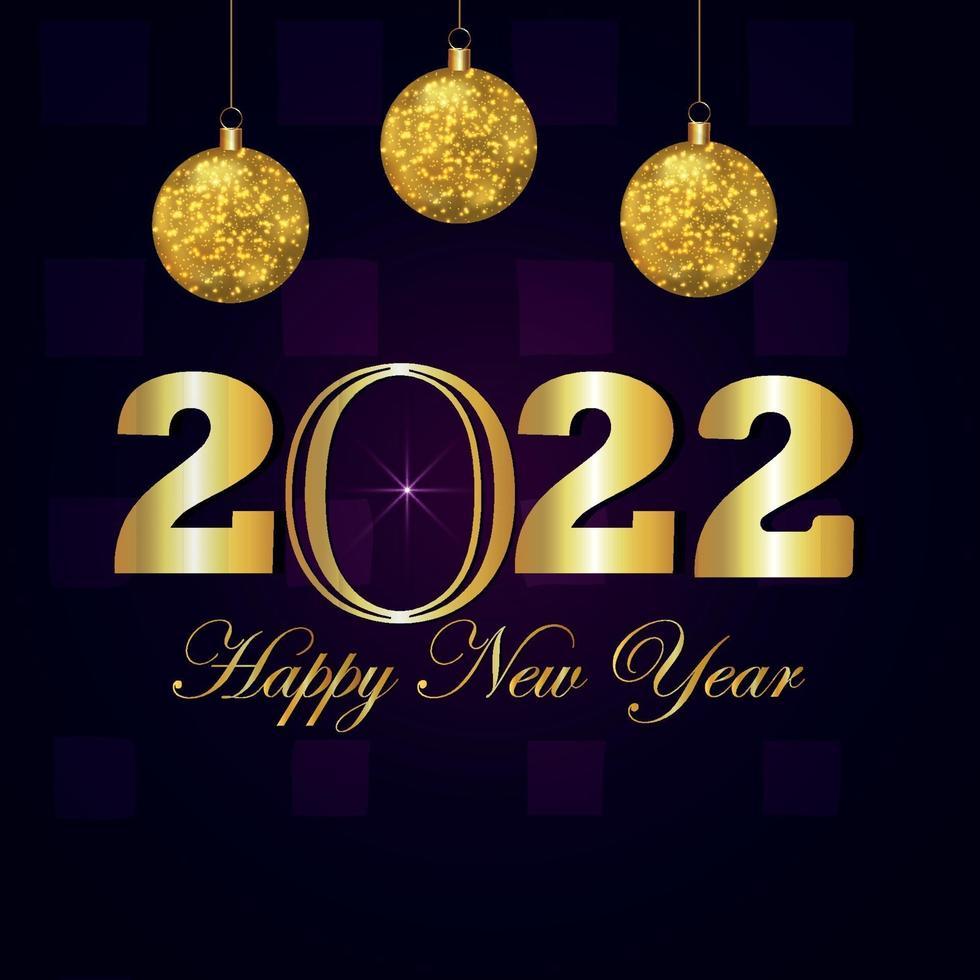 Cartolina d'auguri di celebrazione del buon anno 2022 con la sfera dorata del partito di vettore creativo