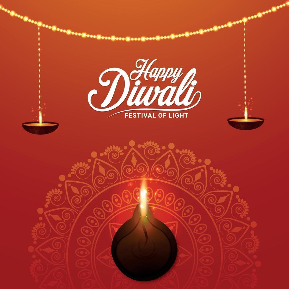 felice diwali festival della luce illustrazione vettoriale con lampada a olio diya