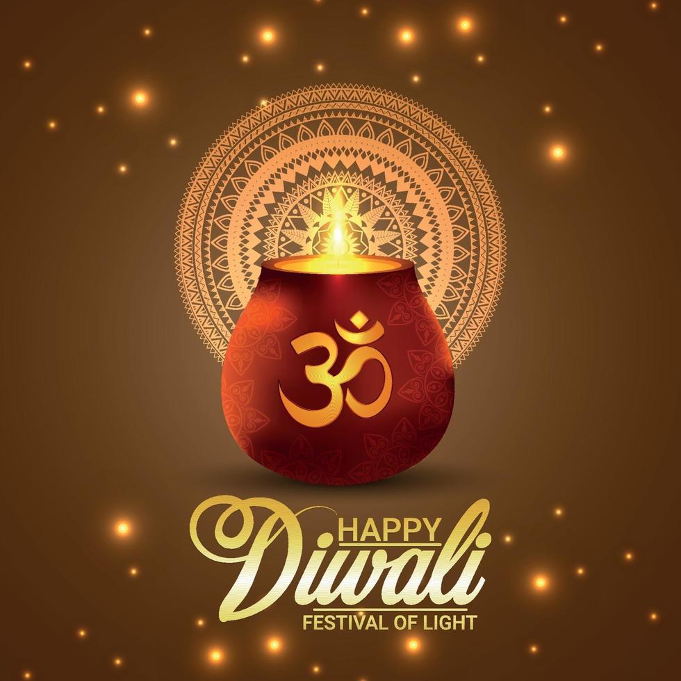 illustrazione vettoriale creativo di diwali felice con pentola luminosa creativa