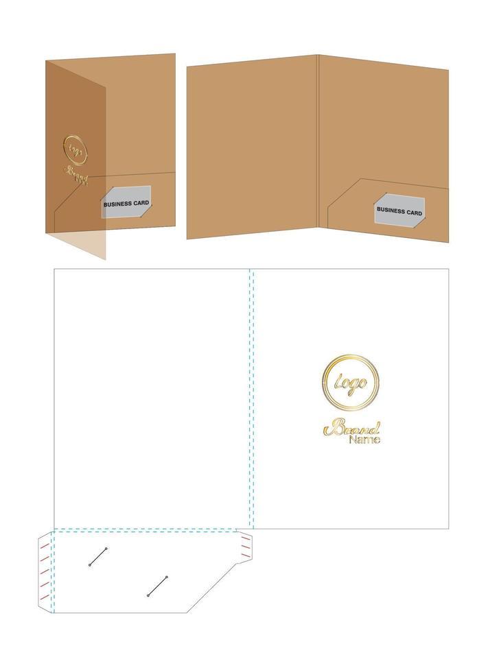 cartella fustellata mock up modello vettoriale