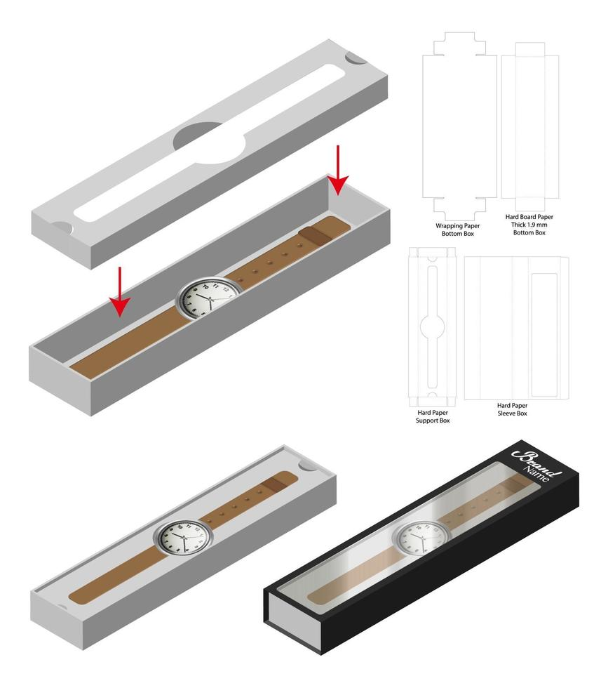 modello fustellato di mockup di scatola manica orologio di lusso vettore