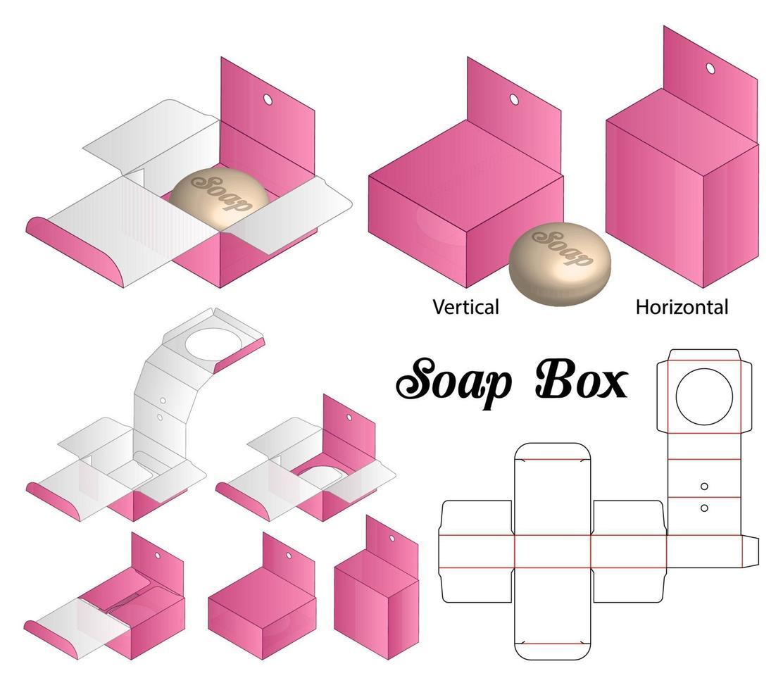 scatola rigida manica per mockup di sapone con fustellato vettore