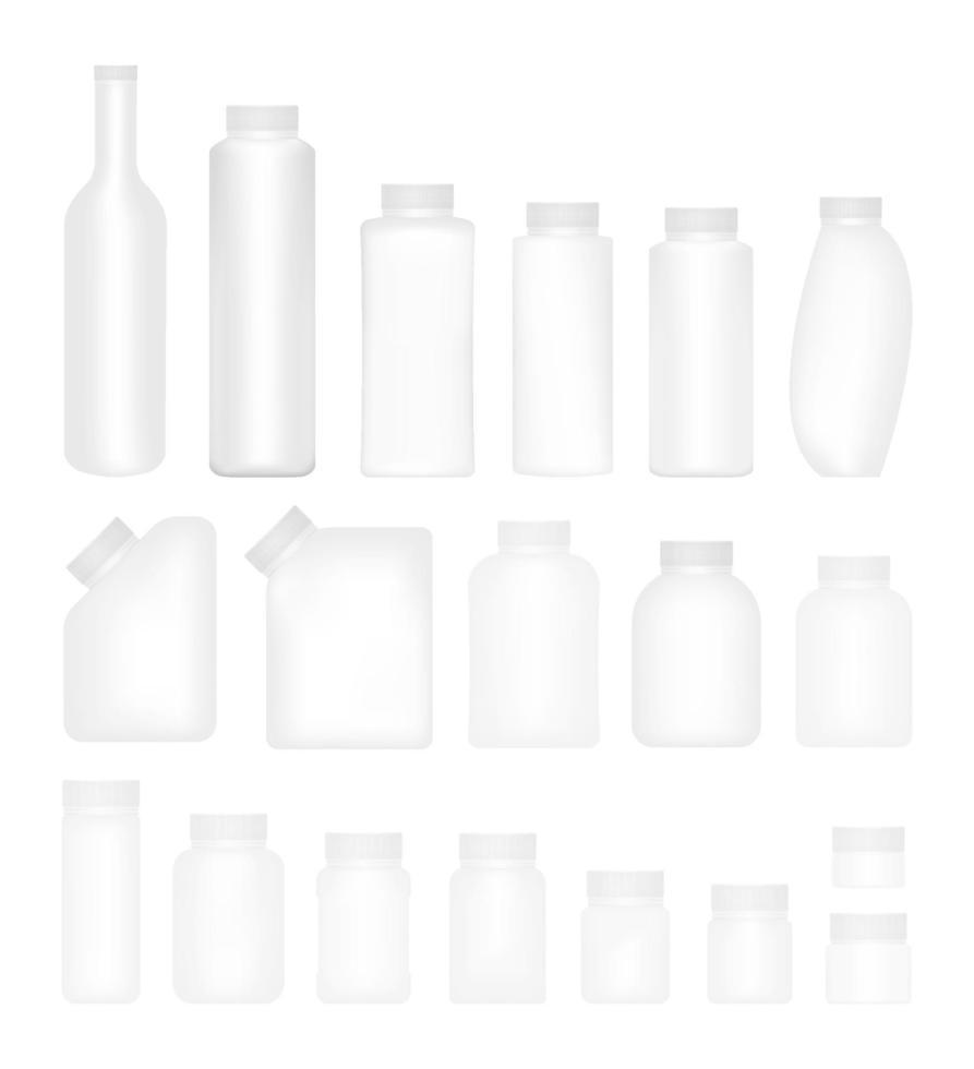 set vuoto di bottiglie di imballaggio in plastica con tappo vettore