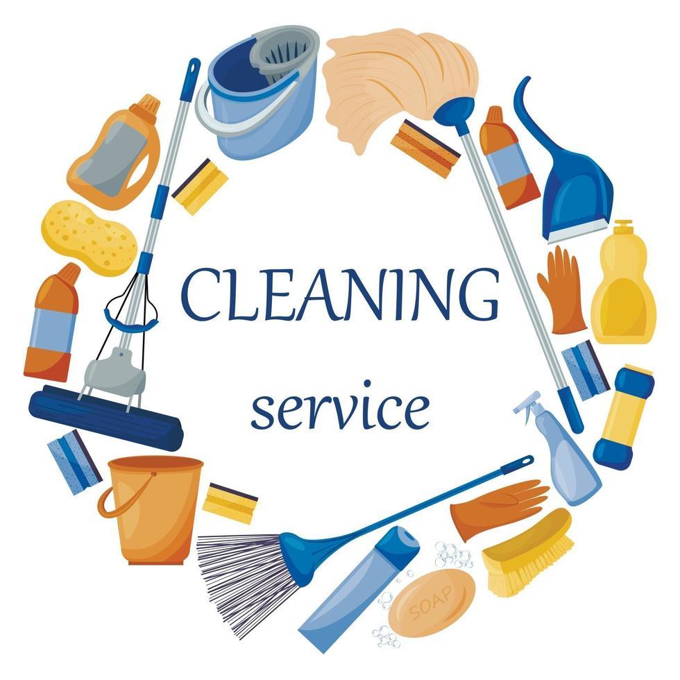 servizio di pulizia. composizione di un set di strumenti per la pulizia della casa. detergenti e disinfettanti, una scopa, un secchio, una spazzola e una scopa. illustrazione vettoriale