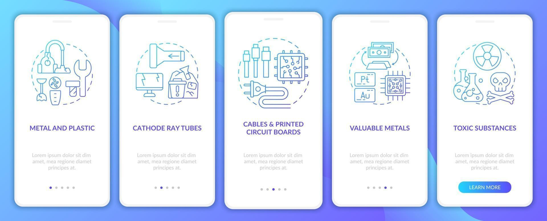componenti dei rifiuti tossici onboarding schermata della pagina dell'app mobile con concetti vettore