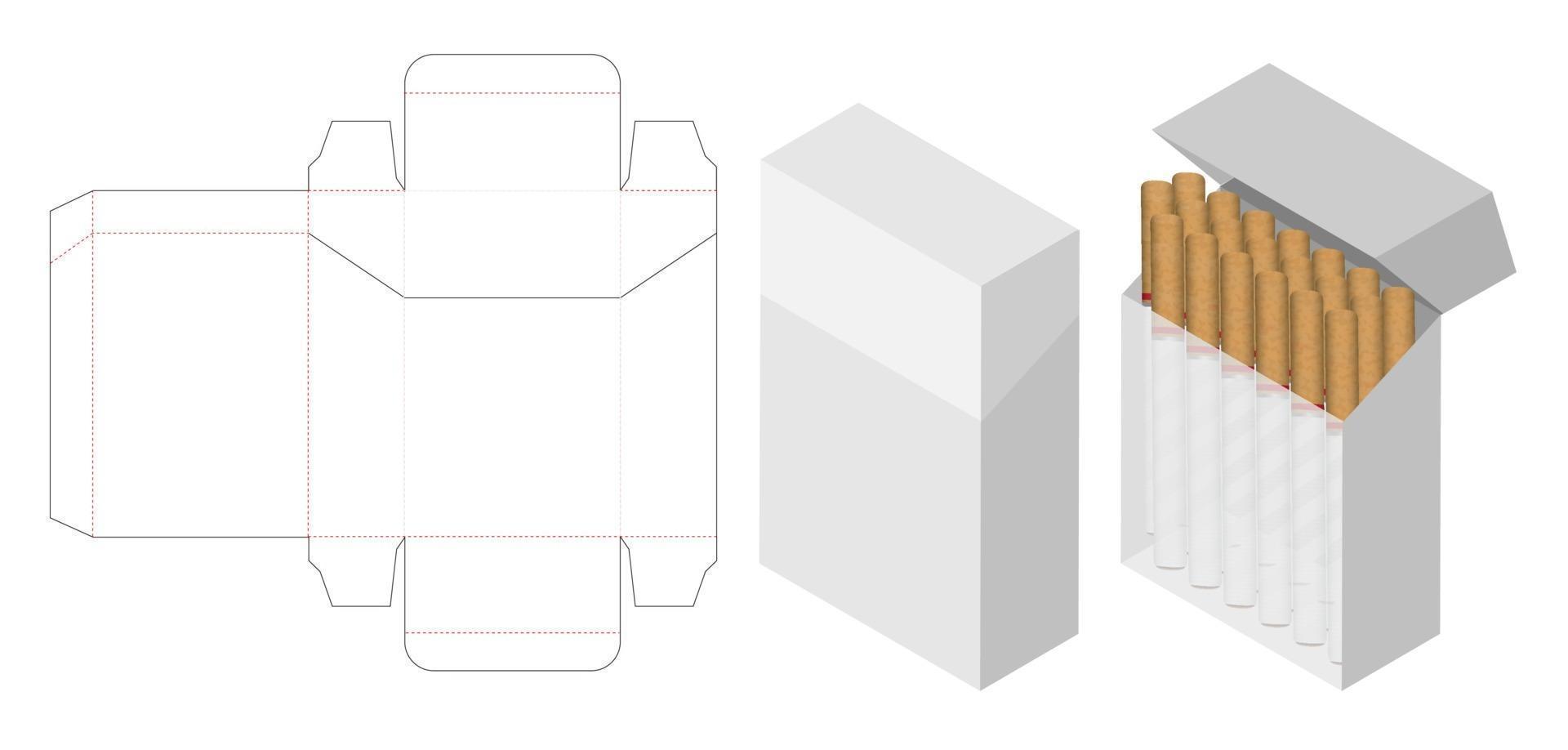scatola di sigarette 3d mockup con scatola fustellata vettore