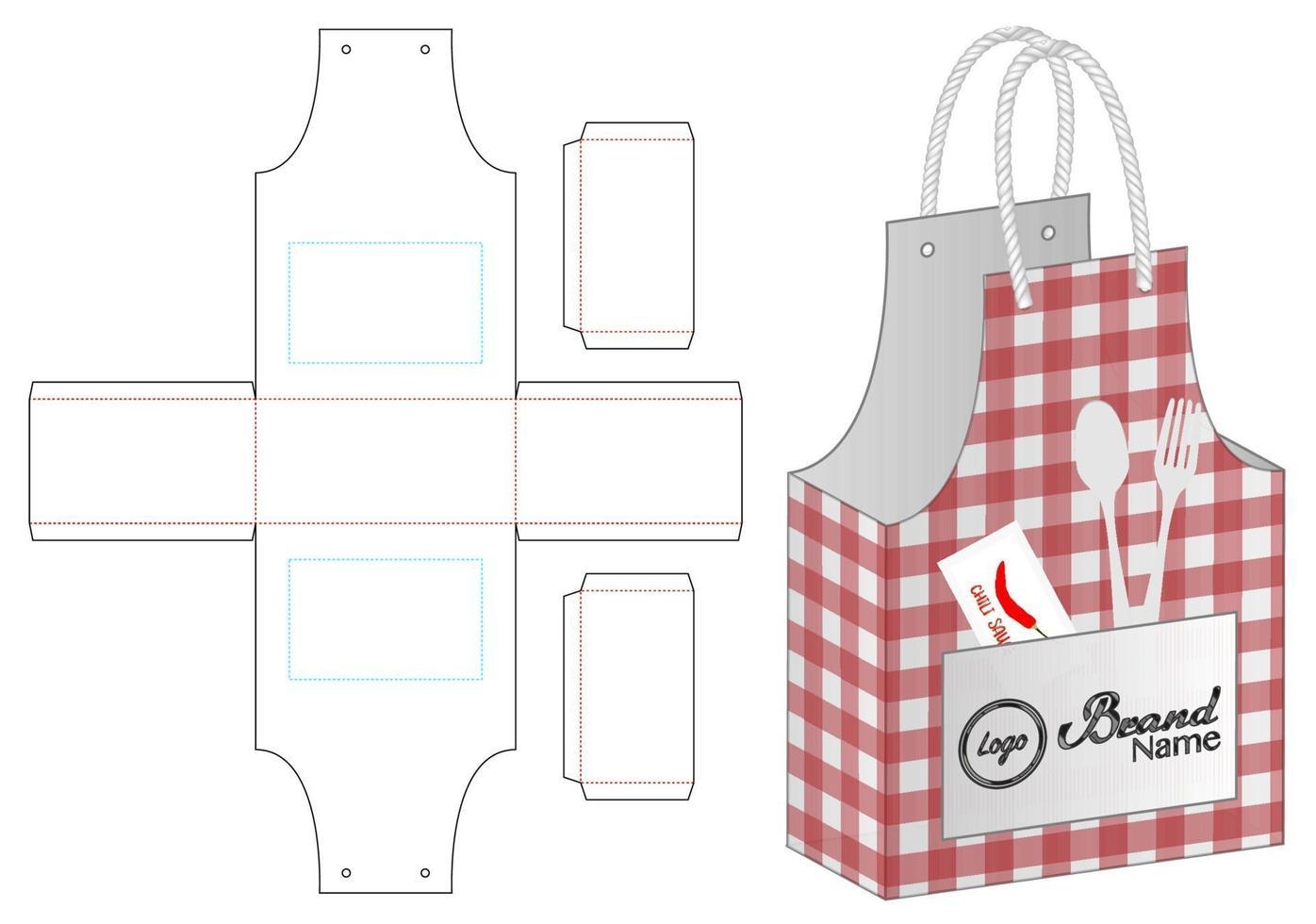 disegno del modello fustellato di imballaggio del sacchetto di carta. Modello 3d vettore