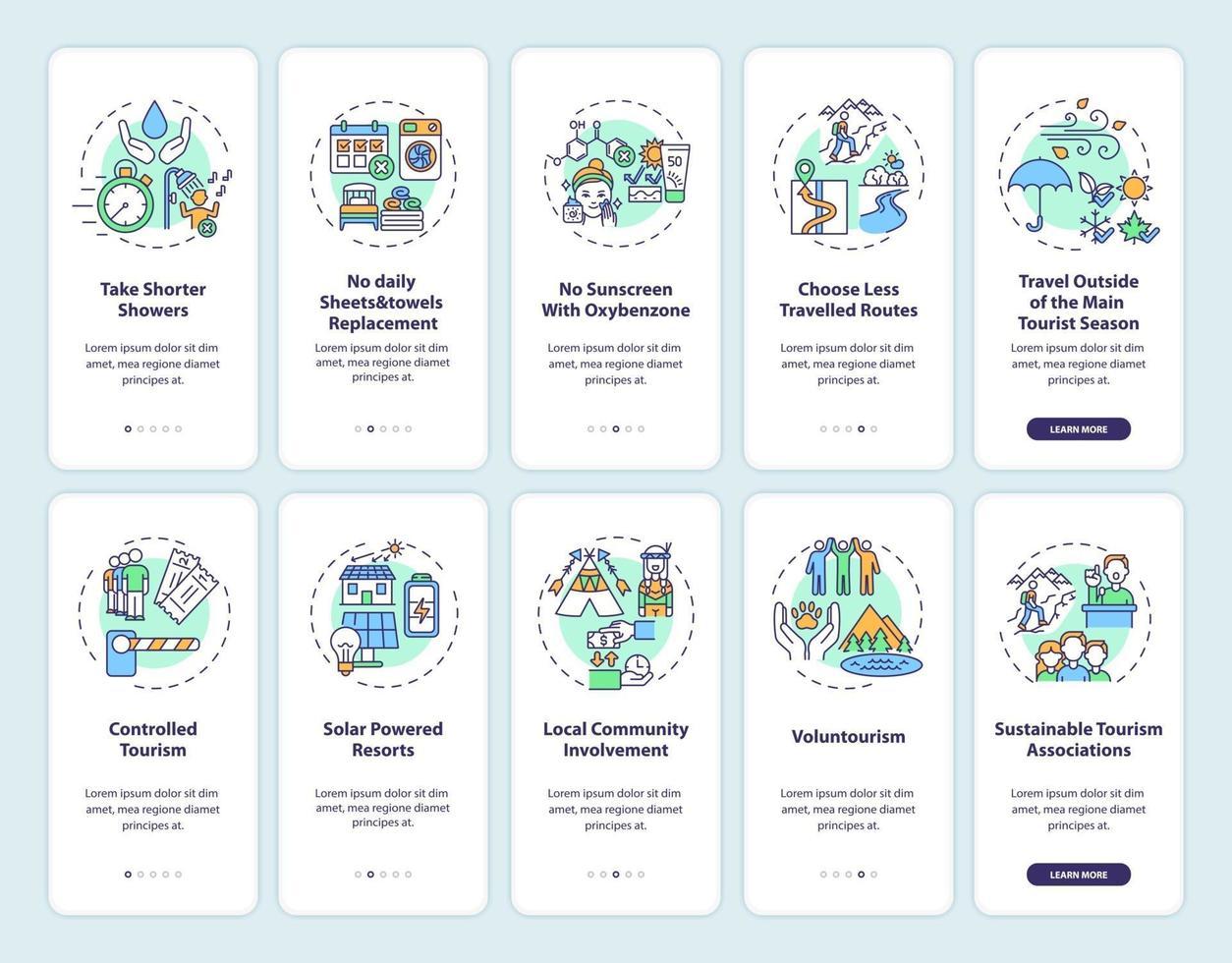 schermata della pagina dell'app mobile per l'onboarding del turismo verde con concetti vettore