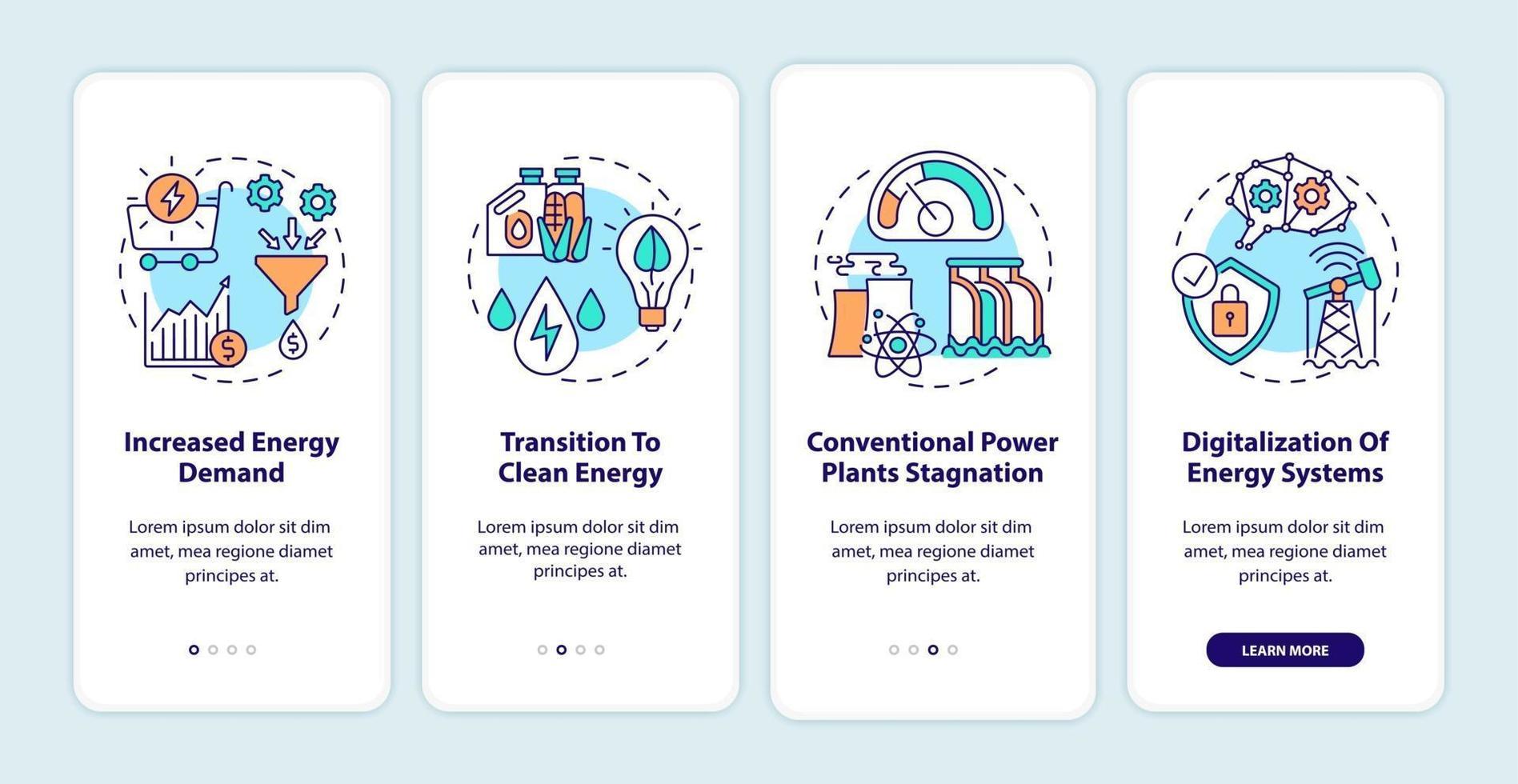 tendenze del settore energetico onboarding schermata della pagina dell'app mobile con concetti vettore