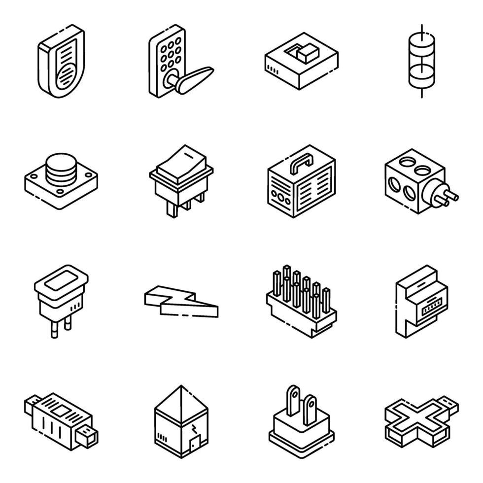 set di icone isometriche di dispositivi elettronici moderni vettore