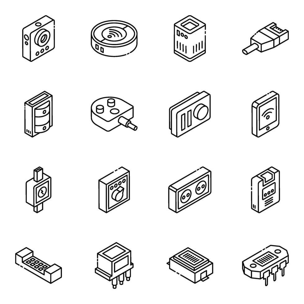 set di icone isometriche hardware e strumenti vettore