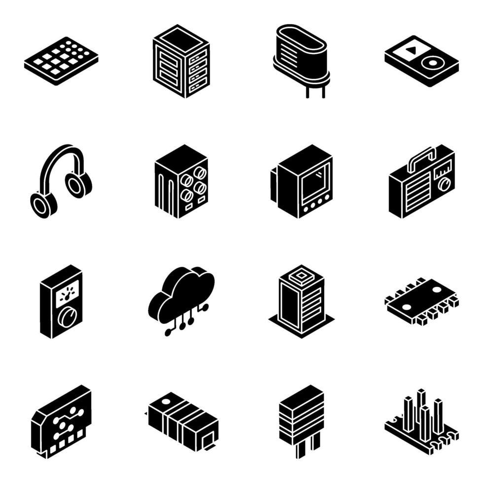 set di icone isometriche di componenti elettronici e transistor vettore