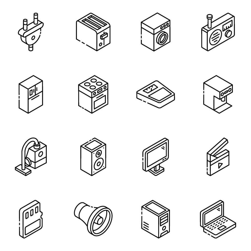 set di icone isometriche di elementi di elettrodomestici vettore