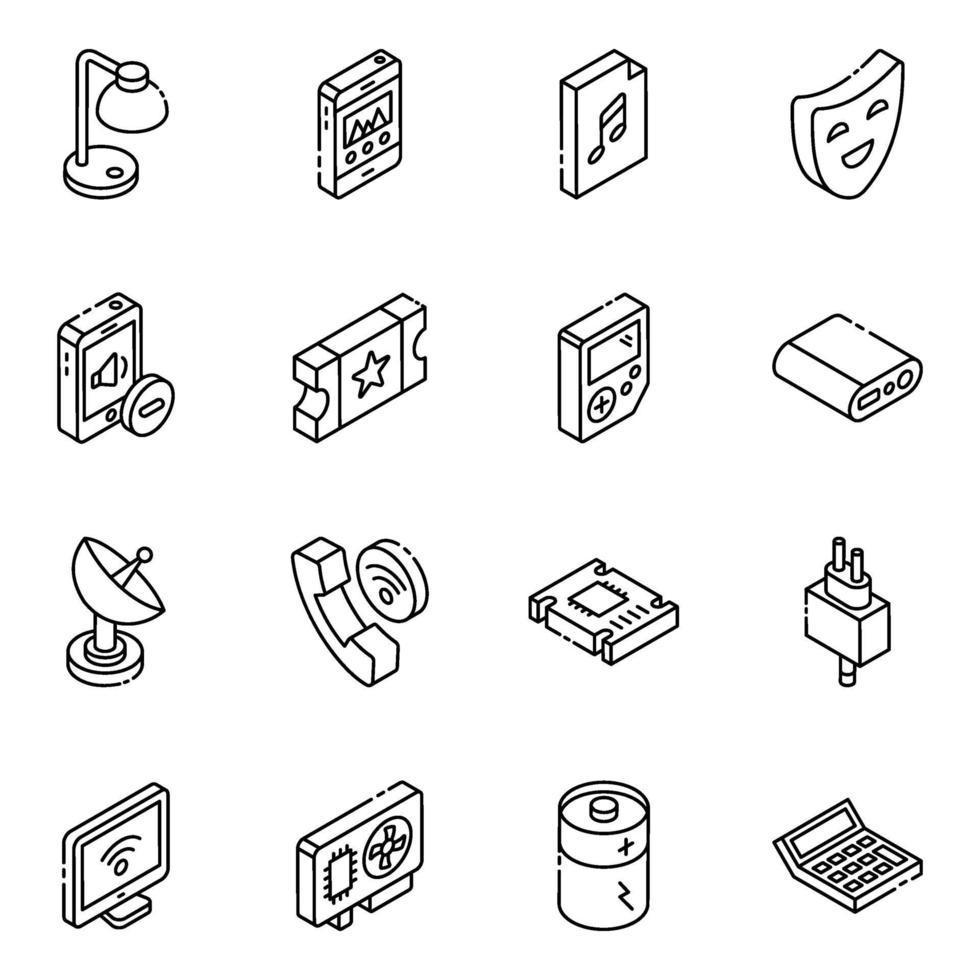 set di icone isometriche multimediali e sociali vettore