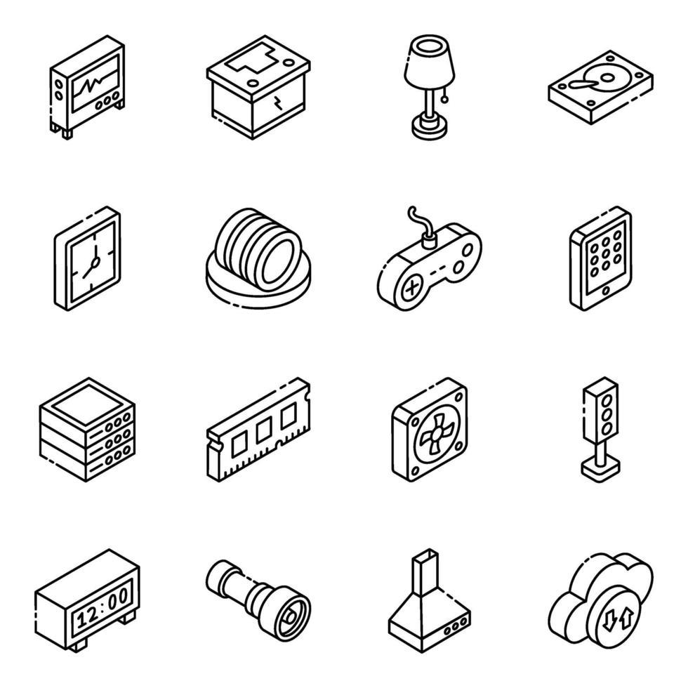 set di icone isometriche di componenti multimediali ed elettronici vettore