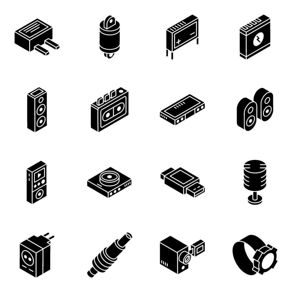 ricambi auto e set di icone isometriche multimediali vettore