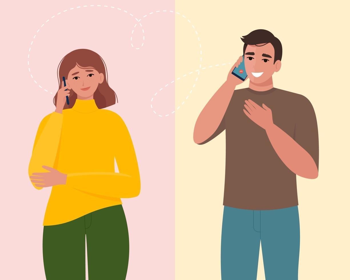 uomo e donna che parlano al telefono. comunicazione e conversazione con smartphone. illustrazione vettoriale in stile piatto