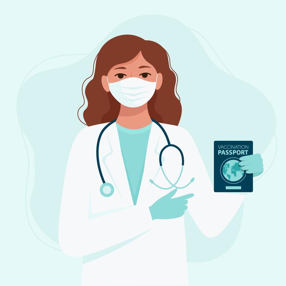 donna medico in una maschera medica e guanti detiene un passaporto di vaccinazione. campagna di quarantena per prevenire la diffusione del coronavirus covid-19. illustrazione vettoriale in stile piatto