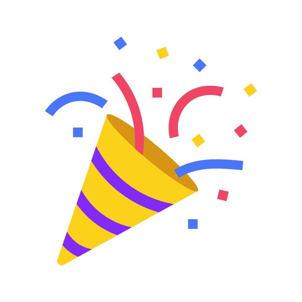 icona emoji - festa, coriandoli nel social network del club. buon compleanno cracker isolato icona vettore. illustrazione vettoriale