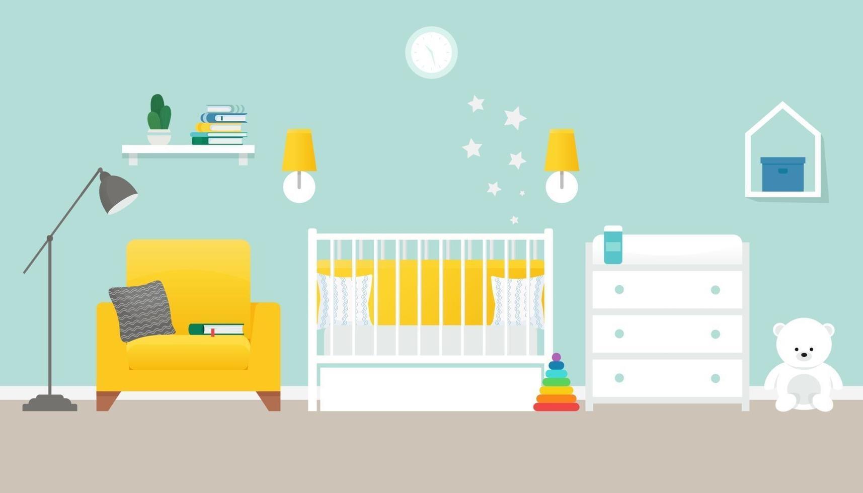 accogliente vivaio interno, baby room, illustrazione vettoriale stile piatto
