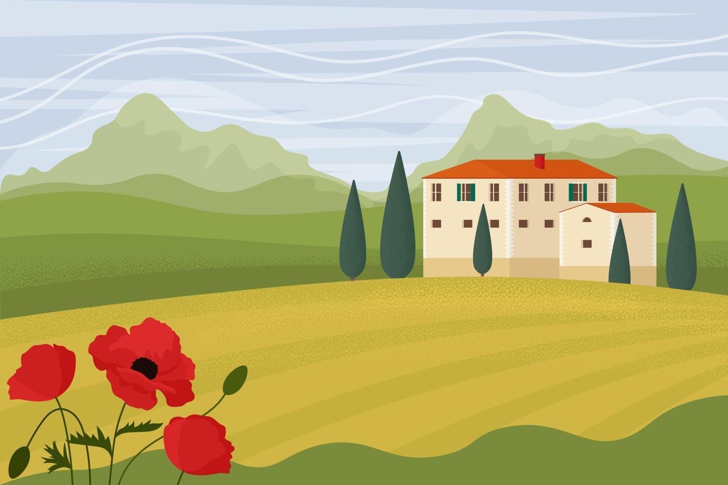 paesaggio toscano. illustrazione vettoriale in stile piatto