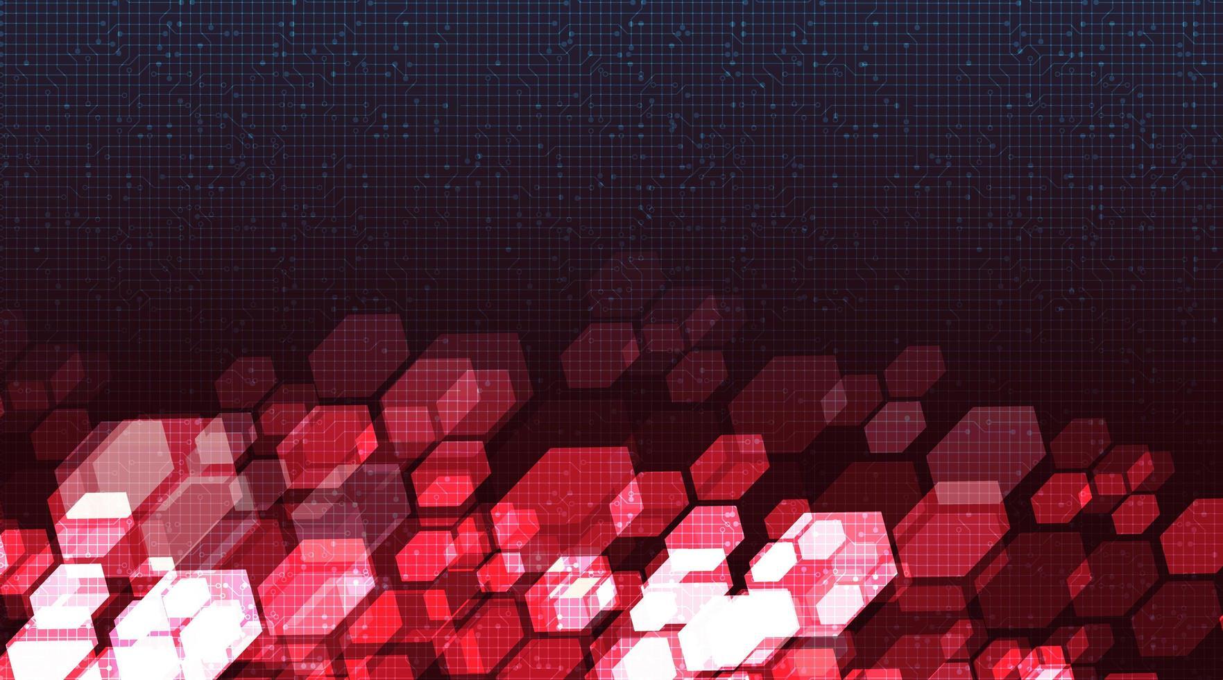 circuito rosso cyber sullo sfondo della tecnologia vettore