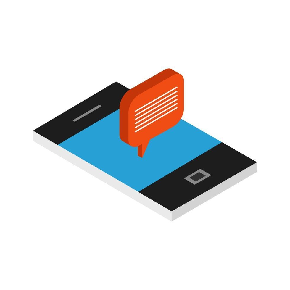 nuvola di dialogo isometrica su smartphone vettore