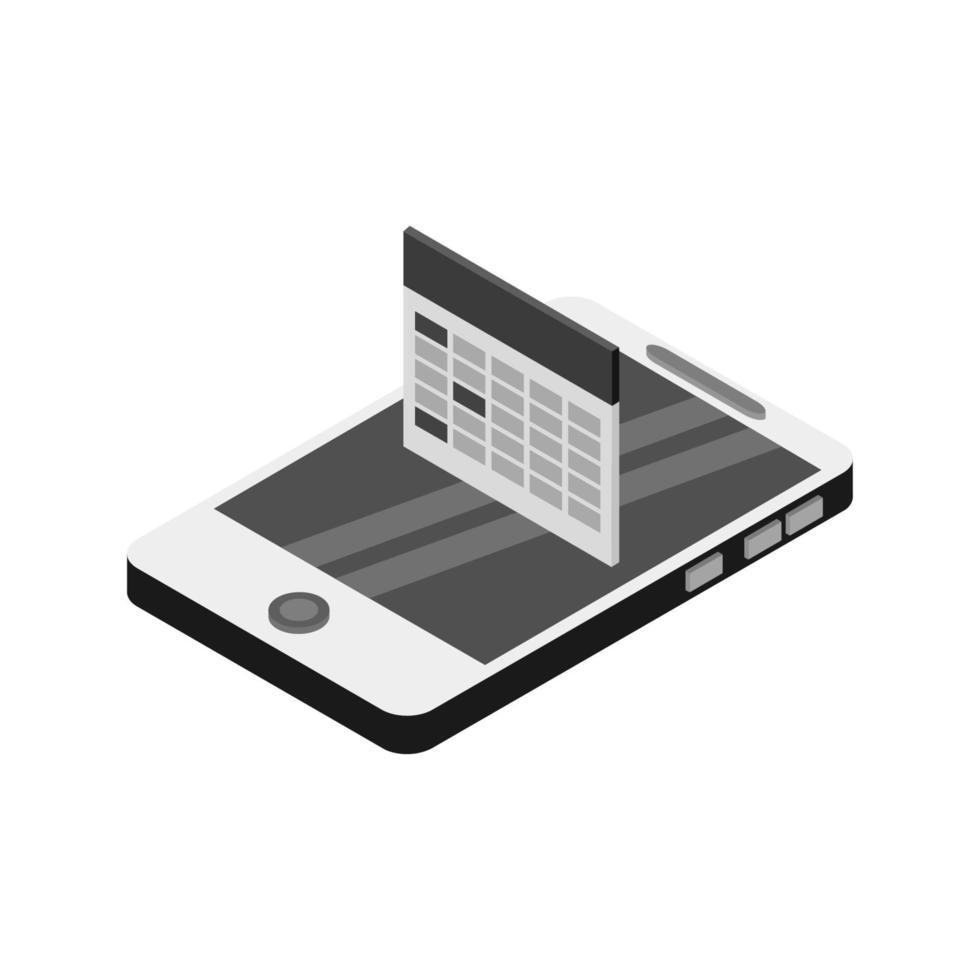 calendario sullo smartphone isometrico vettore