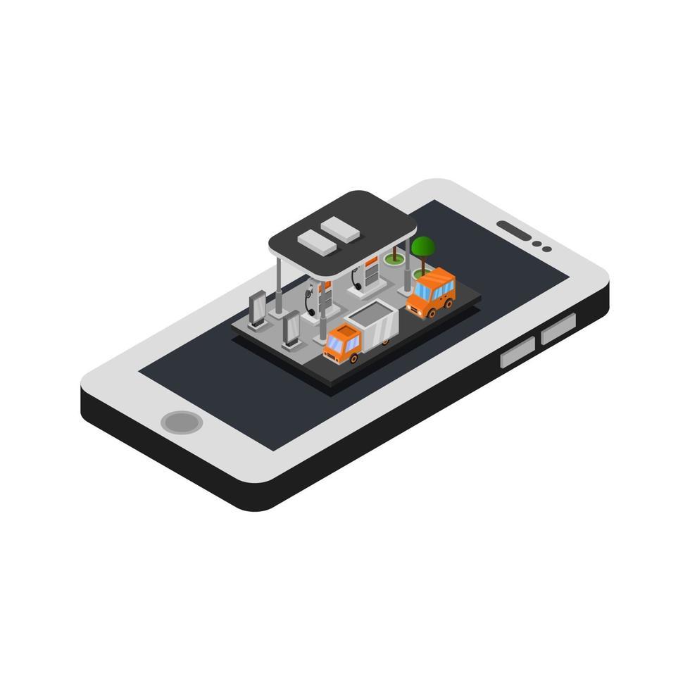 stazione di servizio isometrica su smartphone vettore