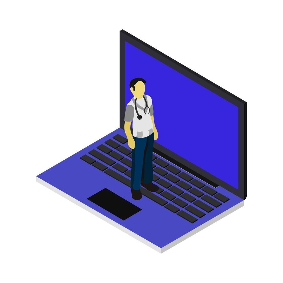 medico isometrico sul portatile vettore