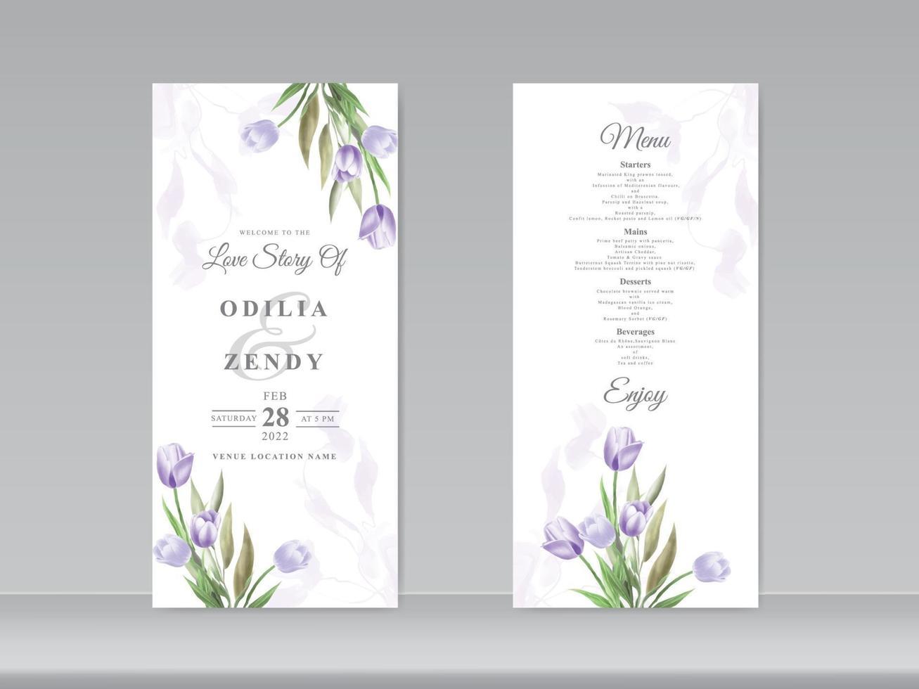 carta di matrimonio acquerello bellissimo tulipano vettore