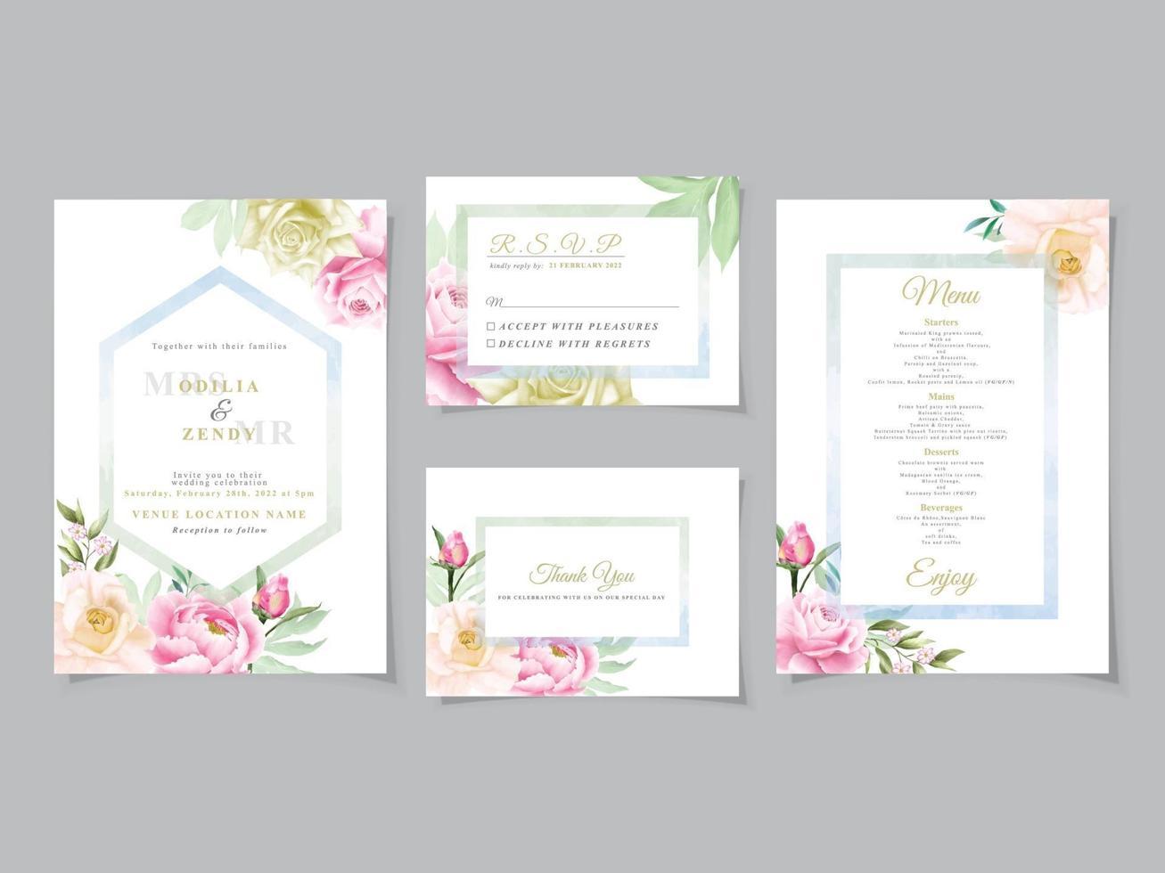 carta di nozze acquerello floreale romantico vettore