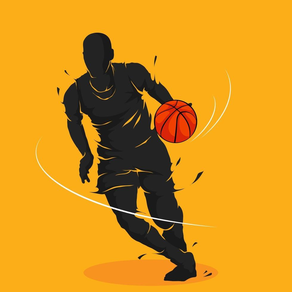basket dribbling in esecuzione silhouette vettore