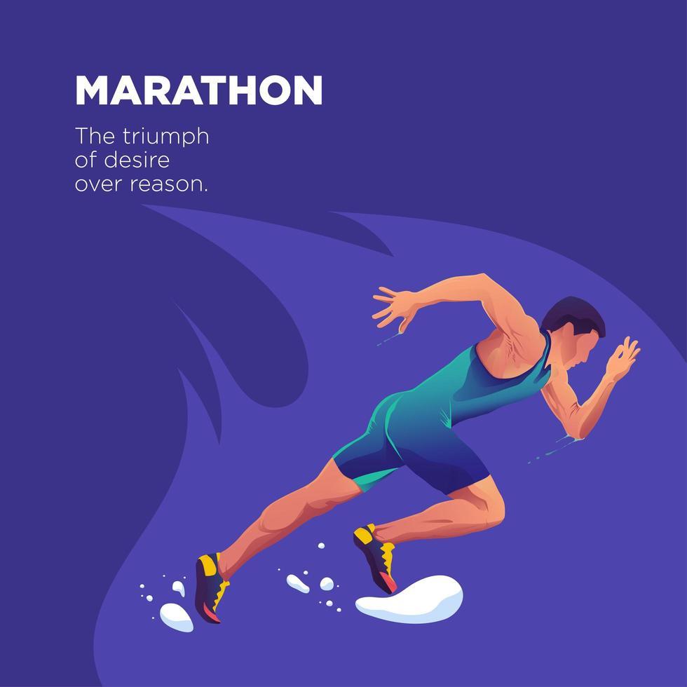 maratona di atleta correre veloce illustrazione di sfondo vettore