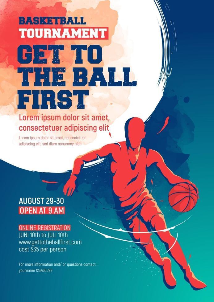 modello di progettazione flyer torneo di basket vettore