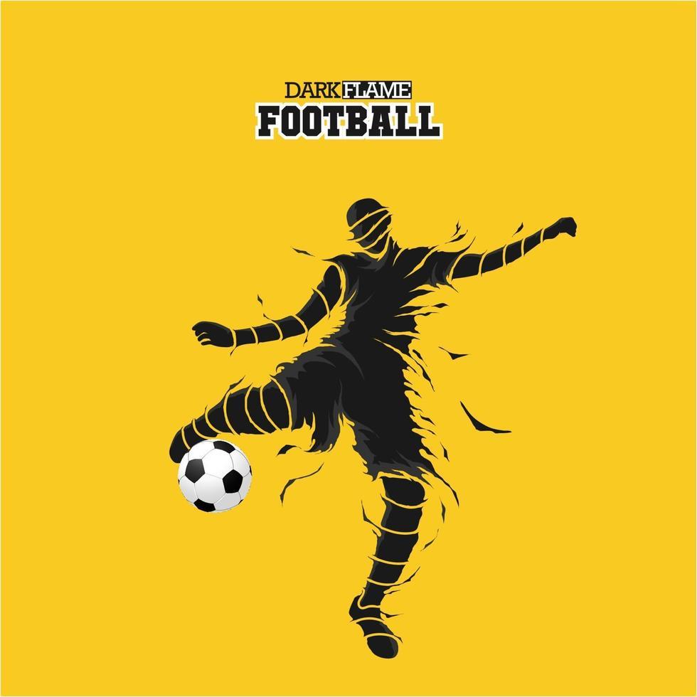 sagoma di fiamma scura di calcio di calcio vettore