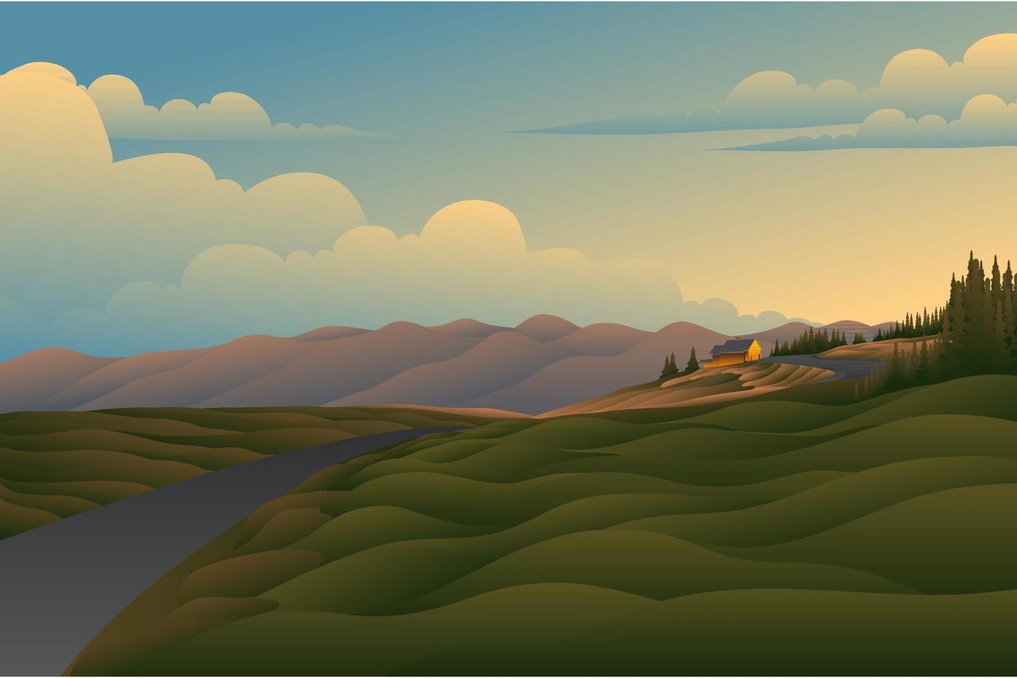 paesaggio di sfondo del campo tramonto vettore
