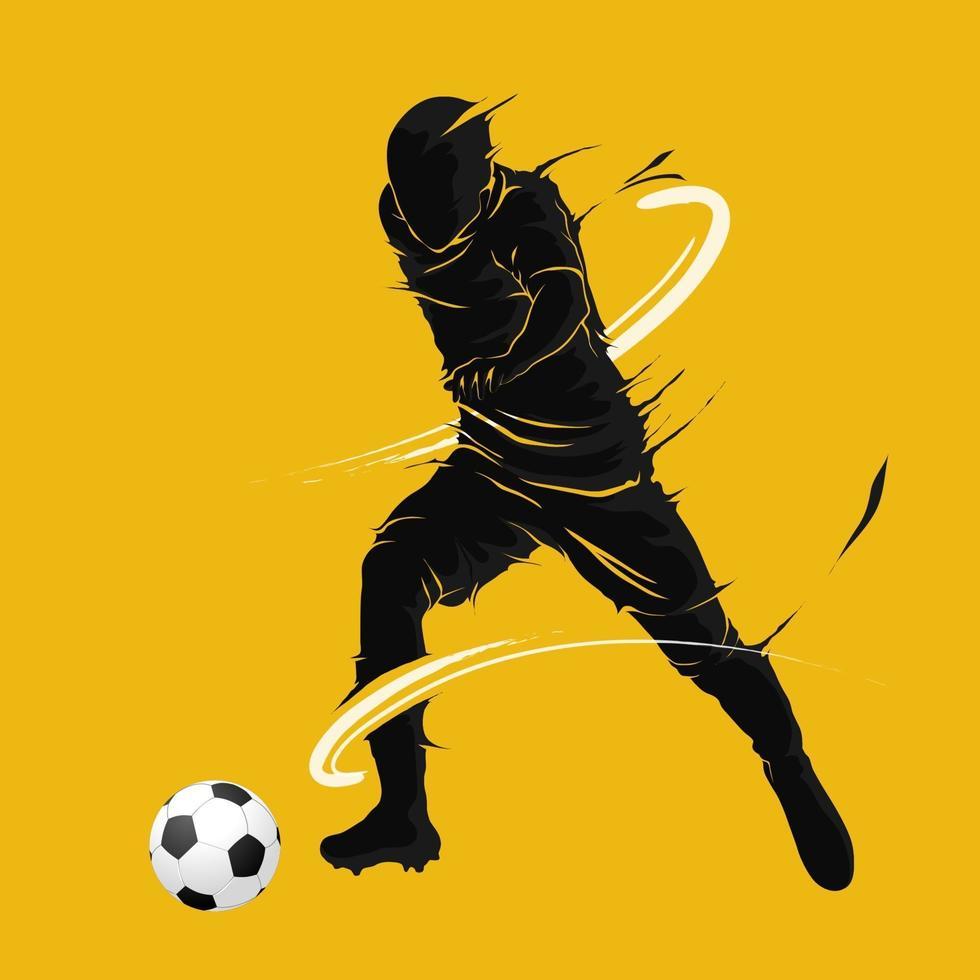 pallone da calcio calcio in posa sagoma fiamma scura vettore