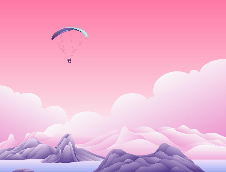 paracadute sopra le nuvole vettore