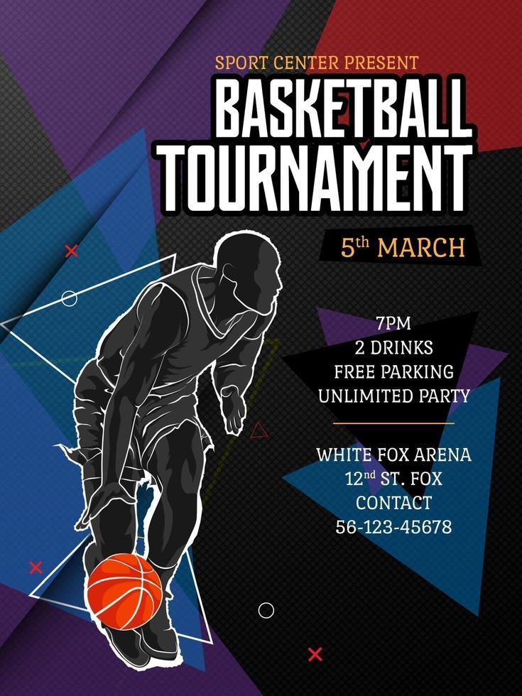 modello di poster del torneo di basket vettore