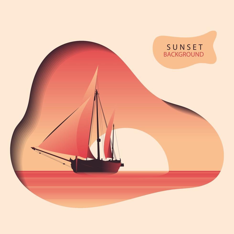 sfondo della nave al tramonto vettore
