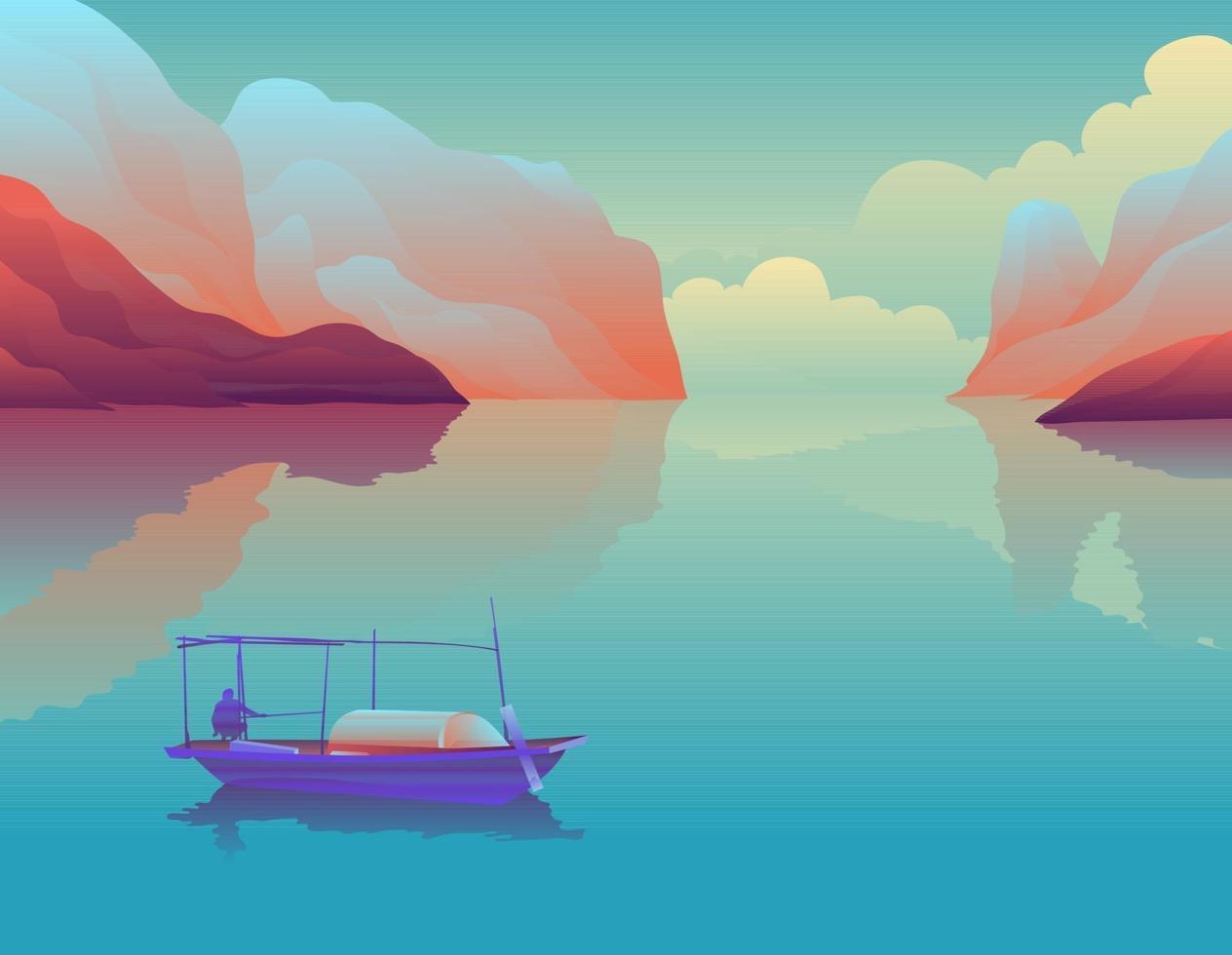 barca da pesca sul lago tra le montagne vettore